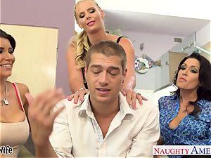 insatiable honies Jessica Jaymes, Romi Rain and Phoenix Marie share salami