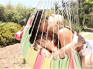 Dani and Cherie plow on the hammock