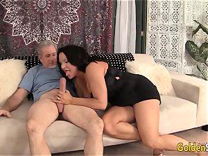 grandma takes immense cock