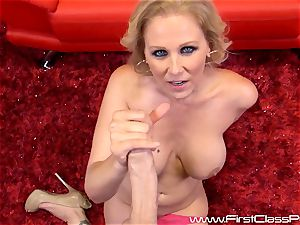 horny cootchie pot mummy Julia Ann gargling on a meaty shaft and getting a ample geyser to her mammories