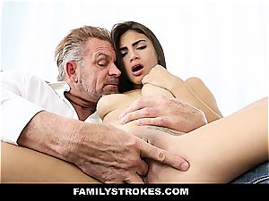 youthfull Latina sandwiched by stepparent and stepbro