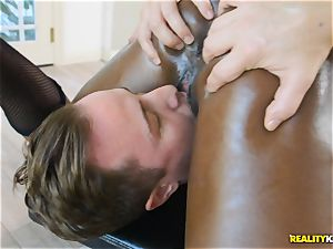 super-naughty black hotty Ana Foxxx arrives as a cop and stuffs the wood of Jessie in her minge