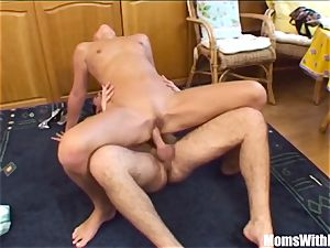 ash-blonde Stepmom stretching For Her crazy Stepson