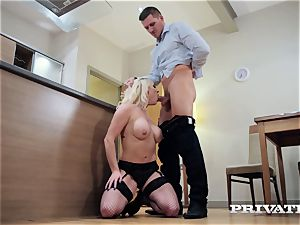 Private.com buxomy Victoria Summers plumbs in stocking