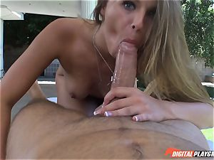 dirty blondie Jillian Janson honeypot plucked on rubdown table outdoors