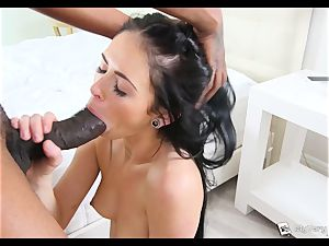 Raven haired Milly Austin gets her first-ever black fuckpole