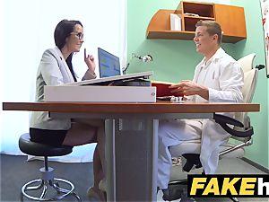 fake health center Doctors manstick stretches super-hot Portuguese babe