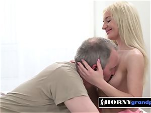 Anna gets her whorish labia wrecked by naughty grandfather
