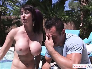 ample stud Johnny Castle pounds his buxomy neighbor in the backyard