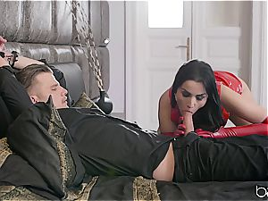 frantically red-hot brown-haired dominatrix ultimately gets her arms on him