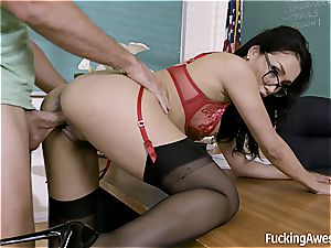 schoolteacher Vicki chase penetrates with One of Her college girl