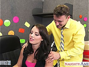 black-haired Kayla West take hard-on in the office