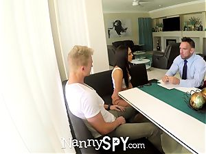 NANNYSPY daddy Makes His son-in-law see him plumb his baby sitter girlfriend