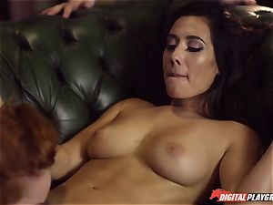 Red-headed whore Ella Hughes and fatal brown-haired Eva Lovia have sex in a nightclub