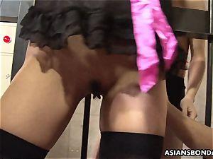 strapped japanese lady got her snatch played by nasty cranks