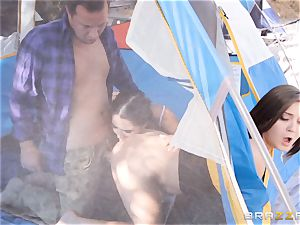 cum-exchanging camping hotties Karlee Grey and Jojo kiss