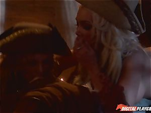 Pirate inserts his rock-hard meat sword into Devon and Teagan Presley