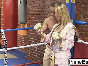 outstanding buxom ash-blonde humps her wild boxing coach