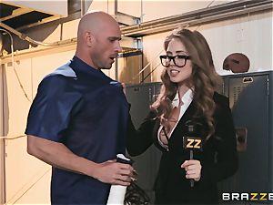 buxomy news reporter Lena Paul plumbed in the locker room