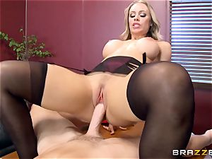 sizzling manager Nicole Aniston taking a large manmeat in the office