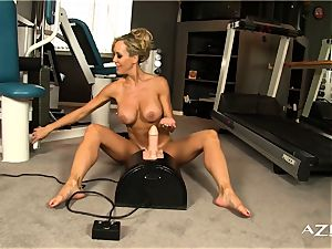 uber-sexy blond cougar rails sybian and shoots a load hard