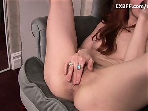 unshaved sandy-haired rockets after strenuous self pounding sequence