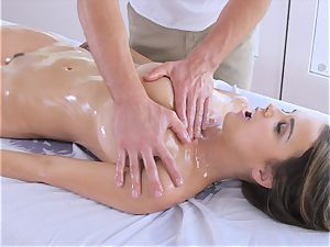 lubricated up dark haired Dillion Harper touched and plowed with ample manstick