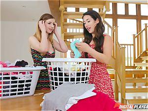 vulva fumbling super-cute Eva Lovia and Stella Cox messing in the laundry