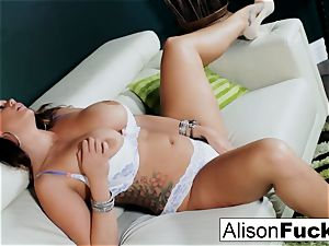 Alison Tyler shows off her forms and makes herself jism