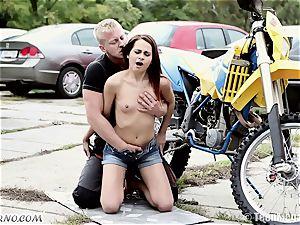 slim Czech cutie gets torn up near the garage
