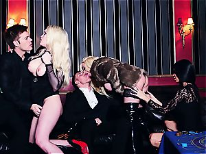 trio super-fucking-hot hoes sharing jism in the casino