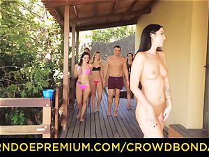 CROWD restrain bondage Outdoor pool hook-up for sizzling Loren Minardi